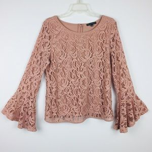 Adrianna Papell Cream Bell Sleeve Knit Lace top